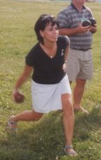 Patricia White shows her bocce ball form.